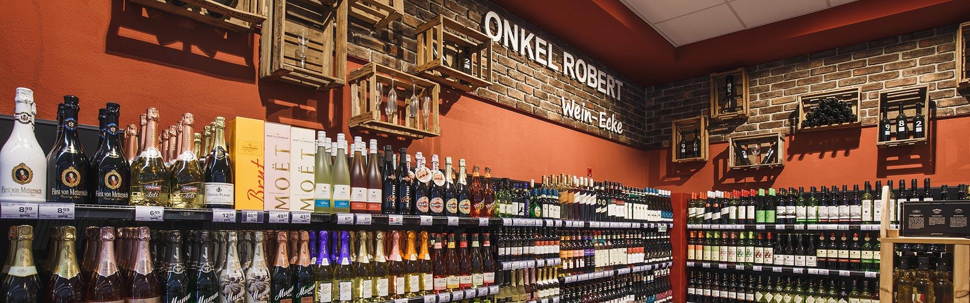 Wein-Ecke im EDEKA Lippmann in Bergatreute
