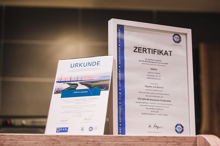 Zertifikat TÜV für EDEKA Lippmann